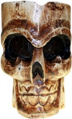 HALLOWEEN/PAGAN/ BALINESE wood SKULL & BONES funky SINGLE SKULL ASHTRAY