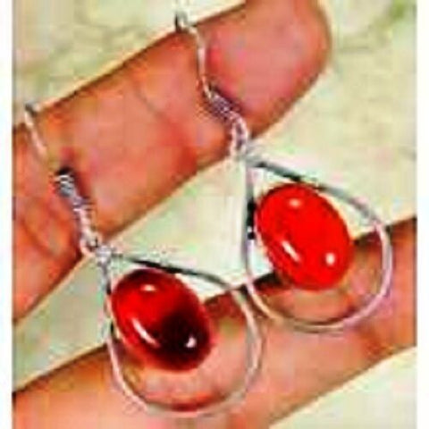 funky Red Quartz & 925 Silver Handmade Elegant Drop Earrings 46mm B12-5052