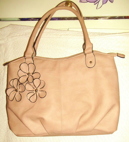 dusky pink faux leather shoulder-bag.flower design.2straps.