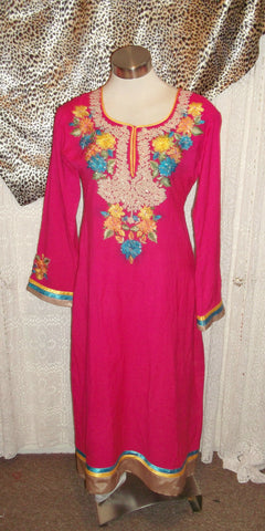 Pink Vintage Indian Tunic top.calf length,side splits,embroidered yellow detail