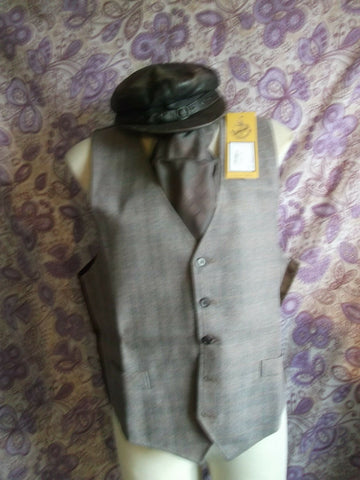 funky Steampunk/TrueVintage mens/unisex brown cheque Waistcoat Size 42