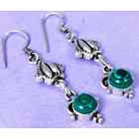 funky Lab Malachite & 925 Silver Handmade Designer drop Earrings 57mm G76-32603