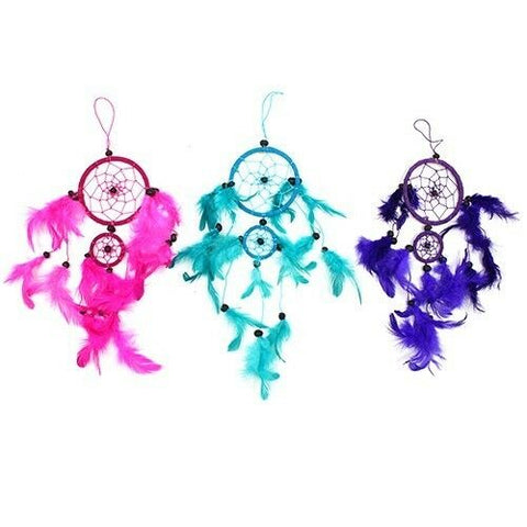 Funky Bali Dreamcatchers-Medium Round-PINK,TURQUOISE,PURPLE -Bedroom Size