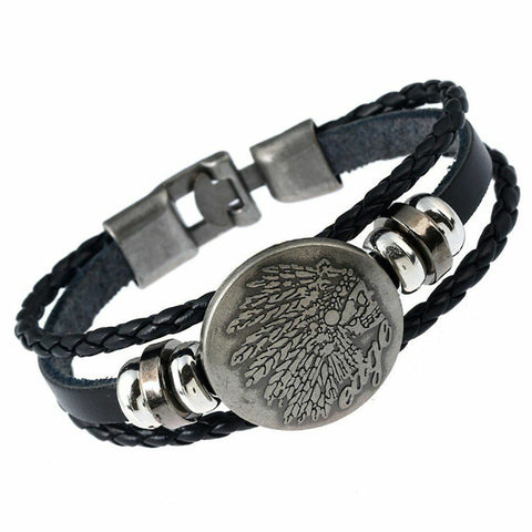 Funky Men's Feathers Leather Bracelet Rocker Buckle Bracelet Jewellery4