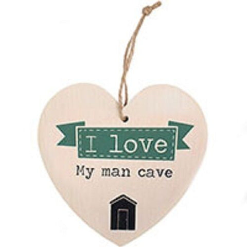 SHABBY CHIC/RETRO I LOVE MY MAN CAVE  mdf sign-H:12cm W:11.5cm D:0.5cm