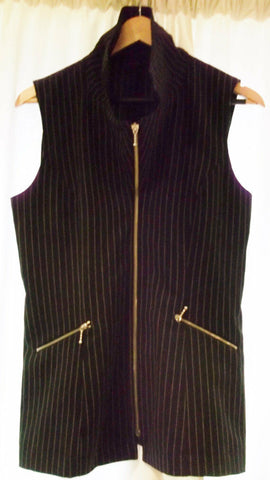 Funky Vintage Chic/Steam Punk UNISEX Black pin-stripe, fitted Waistcoat -size 10