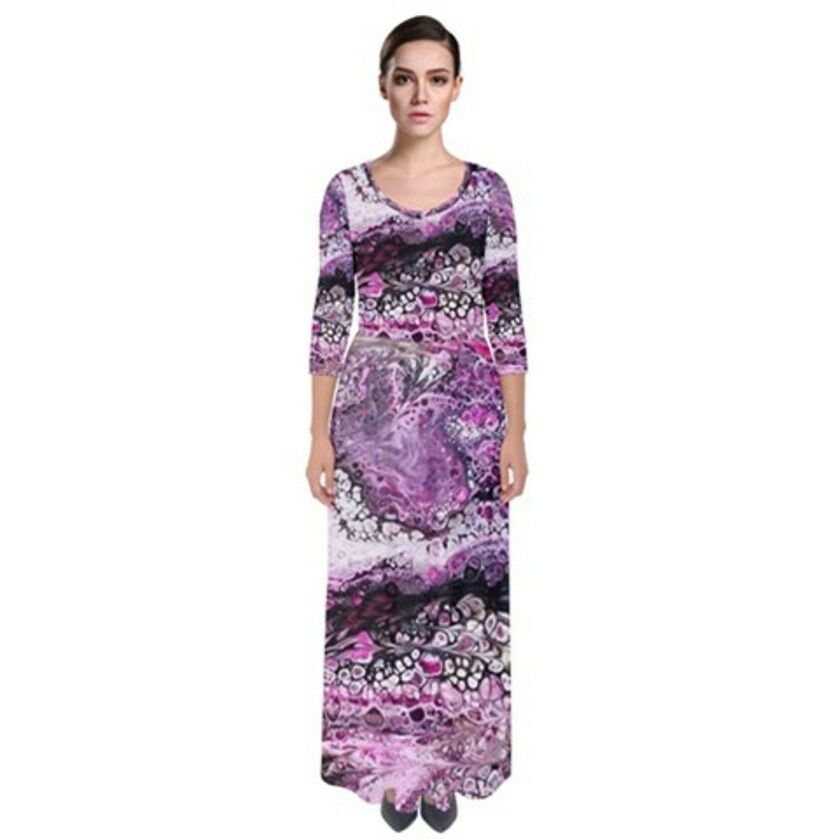 PURPLE Exclusive OriginalDesigner 1/4 SLEEVE,MAXI DRESSize:Med10-12uk.ELAST WAIS