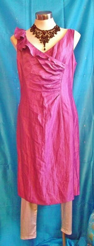 GORGEOUS Kaikoo purple dress, size14,f shoulder flounce, sleeveless