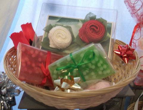 valentines day/mothers day HAND-MADE SOAP-Red/green basket2 GIFT SETS.