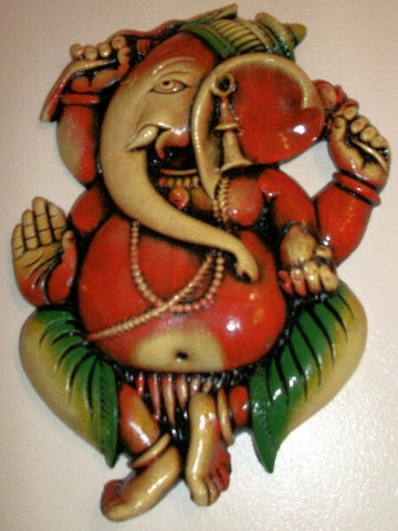 8 Good Luck Ganeshe-Wall Plaque-Hand- Painted clay Ganeshe Wall Plaques
