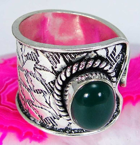 FUNKY Green Onyx & 925 Silver Handmade Beautiful Ring Size Adjustable G77-32837