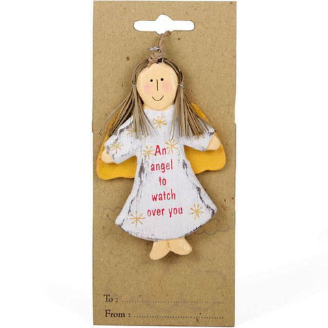 Rustic style hanging angel decoration featuring the text 'Anursery/gift/stocking