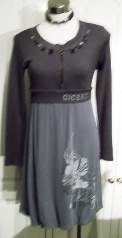 Funky Unusual Grey Jumper Dress by CICERO, Size Small/Medium