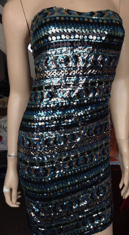 Moio Hemero. Size M. Figure Hugging sequinned, graduating colour Strapless Dress