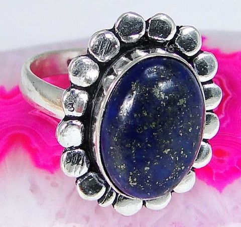 Lapis Lazuli & 925 Silver Handmade Unusual Ring Size O & gift-box