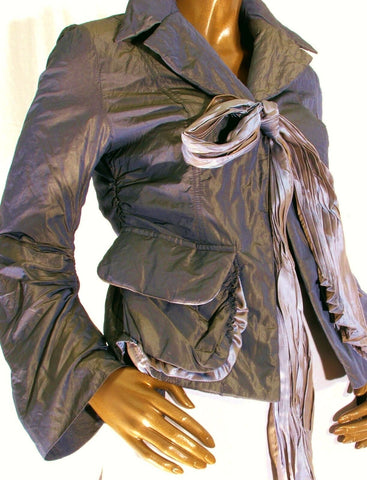Green Jacket Two Tone Metallic Tie Front Gothic Grunge Peplum size M UK12.