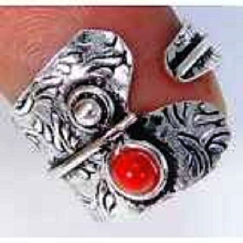 FUNKY Red Coral & 925 Silver Handmade Designer Ring Size Adjustable G77-32852