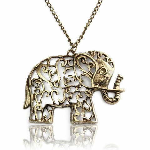 Women Boho/Tibetan bronze  Lucky Elephant Pendant Long Chain Openwork Necklace