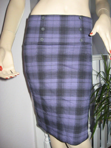 Black purple tartan check pencil skirt size 10 Goth Rock Party