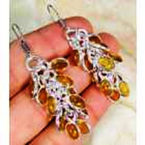 funky Quartz Citrine & 925 Silver Handmade Stylish Drop Earrings 56mm G66-29760
