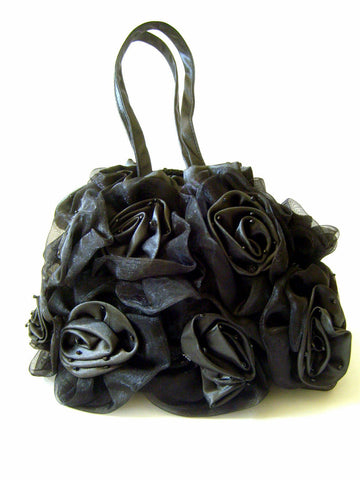 GORGEOUS BLACK HANDMADE SILK BLEND & VOILE ROSE BAGS IN BLACK-PERFECT GIFT