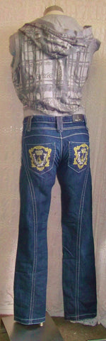 BABY PHAT DARK DENIM JEANS .SIZE 32.with gold/white embroidered back pockets
