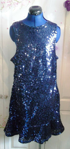 Exquisite sequinned sleeveless,flared,lined dress,midnight blue size16-rrp£99.99