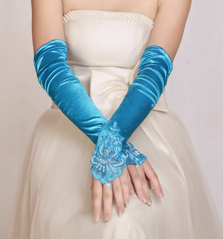FUNKY New BLUE ELBOW Wedding/Evening/Party Fingerless  Lace Satin Bridal Gloves