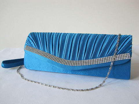 NEW turquoise  SATIN RUFFLE diamante  DETAIl EVE BAG/Clutch/Purse/Party Bridal