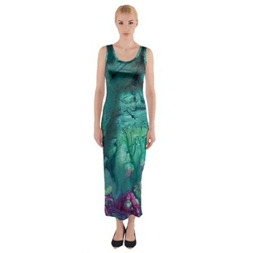 BLUE FEARIE Exclusive,Original Designer FITTED MAXI DRESSSize:Medium10-12uk