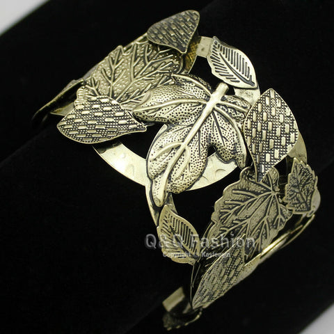 Vintage Gold Repousse Leaf & Stem  Ornate Bold Bracelet Bangle Cuff