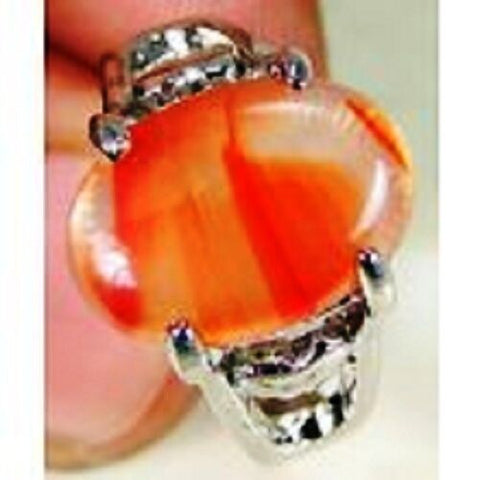 FUNKY Lab Carnelian & 925 Silver Handmade Designer Ring Size P G82-34166