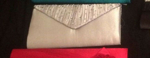 silver DIAMANTE EDGING  Satin EVE BAG - Clutch Bag Purse/Party Bridal Evening