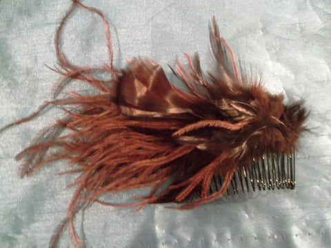 gorgeous brown handmade feather fascinator-comb/slide-special occasions 7