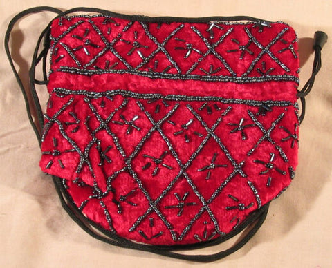 Exquisite, unusual Vintage velvet Glass purses-