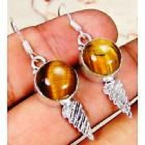 funky Tiger Eye & 925 Silver Handmade Designer drop Earrings 45mm G83-34563