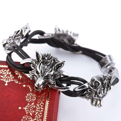 fUNKY Men's Titanium Steel Wolf Head Punk Bracelet PU Leather Wristband Jewelry