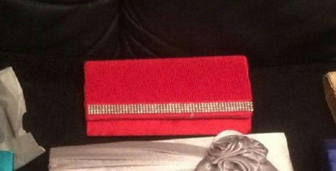 RED SATIN DIAMANTE EDGING  Satin EVE BAG - Clutch Bag Purse/Party Bridal Evening