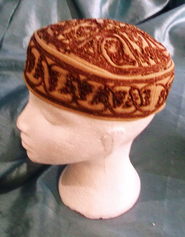 punk/cosplay/festi/stagewear/costume/ BEIGE/BROWN FEZ HAT.EMBROIDERED  21