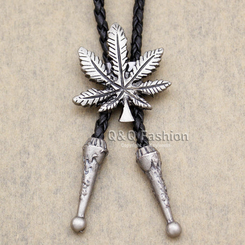 Funky Marijuana Pot Weed Leaf faux-Leather Rodeo Lariat Necktie
