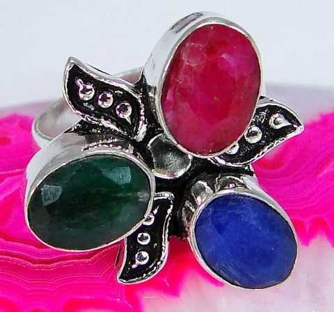 Multi Gemstone & 925 Silver Handmade Lovely Ring Size 6 & gift-box