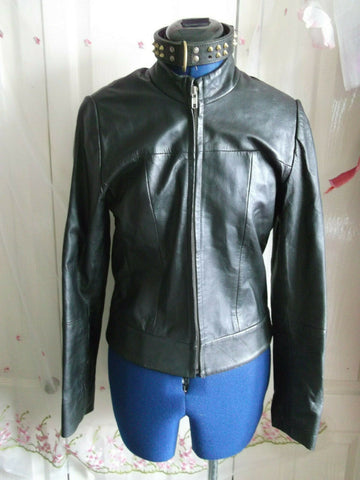 Vintage  BLACK leather biker/STEAMpunk/hip jacket.size10 ZIP FRONT