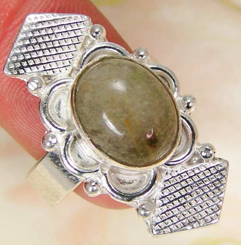 Golden Rutile Quartz & 925 Silver Handmade Elegants Ring Size Q & gift-box