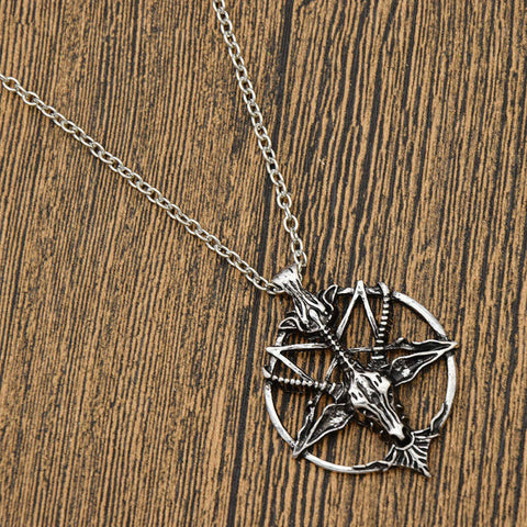 Baphomet Vintage Goat Head Skull pentacle Pendant Necklace Jewellery Unisex