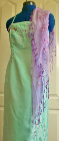 Oasis Stunning lime green silk dress-halter neck, hand embroidered.size12