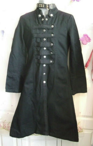 black unisex Criminal damage goth/punk/stage black fitted long coat. Size medium