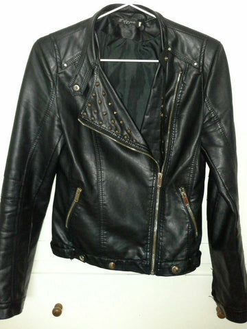 FUNKY PUNK Black FAUX leather womens BIKER jacket with studs size 10