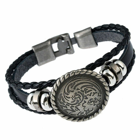 Funky Men's Punk T'ao Leather Bracelet Rocker Buckle Bracelet Jewellery