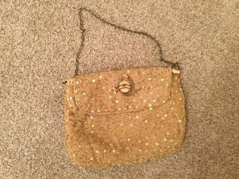 StunningVintage/Retro gold sequin Eve/clutch bag-button &beadwork det 8.5