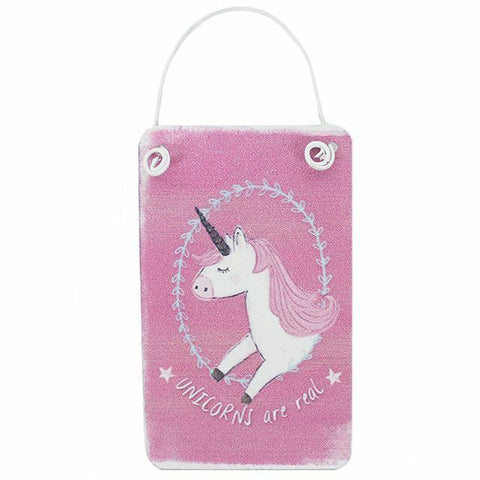 Mini Pink Unicorn Metal Sign. H:5.00cm x W:8.00cm x D:0.50 nursery/gift/stocking